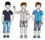 Different young teen boys cute children standing in stylish casu. Al clothes. Vector set of beautiful kids illustrations Royalty Free Stock Image
