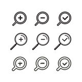 Different zoom icons set Royalty Free Stock Image