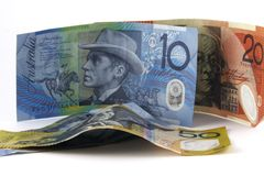DifferentDollars. Australian money on white background Stock Images
