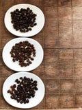 Differente degli arrosti dei chicchi di caffè fra l'arrosto scuro e l'arrosto medio Fotografie Stock