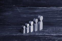 Differente nella le figure di legno della crescita della gente sia nell'ordine nell'ordine ascendente Il concetto di istruzione,  fotografia stock