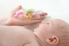 Differentes Pacifiers royalty free stock photo