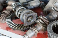 Metal gear closeup detail toll. Differential big steel machines background royalty free stock photos
