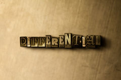 DIFFERENTIAL - close-up of grungy vintage typeset word on metal backdrop Royalty Free Stock Photo