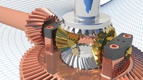 Differential gear. A complete gearing for differential power transmission Royalty Free Stock Photos