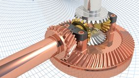 Differential gear. A complete gearing for differential power transmission Royalty Free Stock Photo