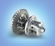 The differential gear in detal on blue gradient background 3d illustration vector illustration