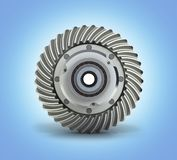The differential gear on white blue gradient background 3d illustration. The differential gear on white blue gradient background 3d stock illustration