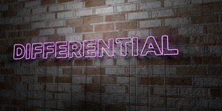 DIFFERENTIAL - Glowing Neon Sign on stonework wall - 3D rendered royalty free stock illustration Royalty Free Stock Image