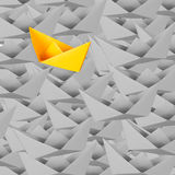 Differentiation concept with paper boat Royalty Free Stock Photos