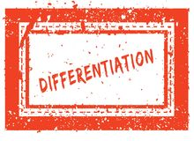 DIFFERENTIATION on orange square frame rubber stamp with grunge texture Royalty Free Stock Image