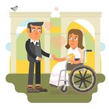 Wheelchair wedding. Differently abled bride on wheelchair in wedding Royalty Free Stock Photography