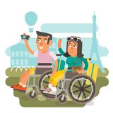 Wheelchair travel couple. Differently abled couple on wheelchairs traveling together Stock Photos