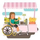 Wheelchair shopping. Differently abled female shopping on wheelchair Stock Photography