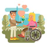 Wheelchair couple dating. Differently abled female on wheelchair dating man Royalty Free Stock Photos