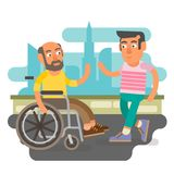Wheelchair friends. Differently abled male on wheelchair meeting friend Stock Photos