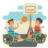 Wheelchair sports. Differently abled male on wheelchairs playing basketball sports Royalty Free Stock Images