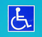 Differently-abled wheechair Zeichen stockbilder