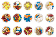Differently colored and shaped pills Royalty Free Stock Photos
