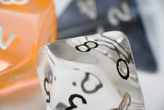 Differently shaped dices. Dices of different shapes closeup Royalty Free Stock Images