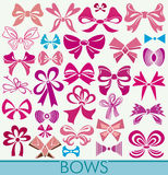 Differently tied bows. Symmetric and asymmetric. stock image