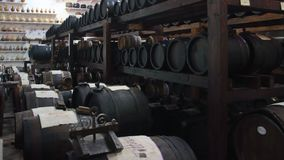 Differents `Batterie` of old casks for the production of original Balsamic vinegar in Castelnuovo di Modena. `Batteria` is a series of barrels of different kind stock photo