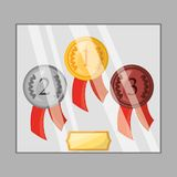 Differents medals to win the championship in the sport game. Vector illustration Royalty Free Stock Images