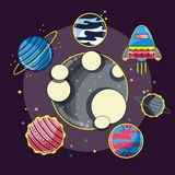 Differents planets around the moon in the galaxy. Vector illustration Stock Images