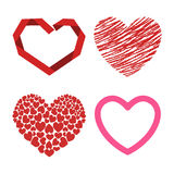 Differents style red heart vector icon isolated love valentine day symbol and romantic design wedding beautiful Stock Image