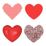 Differents style red heart vector icon isolated love valentine day symbol and romantic design wedding beautiful Royalty Free Stock Photos