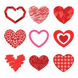 Differents style red heart vector icon isolated love valentine day symbol and romantic design wedding beautiful Stock Photos