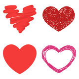 Differents style red heart vector icon  love valentine day symbol and romantic design wedding beautiful Stock Images