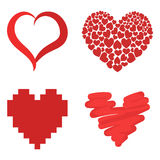 Differents style red heart vector icon  love valentine day symbol and romantic design wedding beautiful Royalty Free Stock Photos