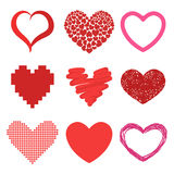 Differents style red heart vector icon  love valentine day symbol and romantic design wedding beautiful Stock Photos