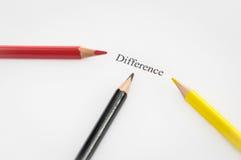 Differenza di parola circondata dalle matite Fotografie Stock