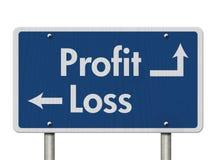Differenza fra profitti e perdite immagine stock