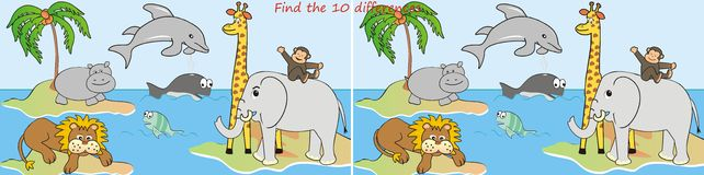 Differenze Animals-10 Immagine Stock Libera da Diritti