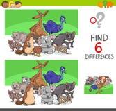 Differenze del ritrovamento con i caratteri animali divertenti Immagini Stock Libere da Diritti