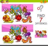 Differenze del ritrovamento con i caratteri dell'animale degli insetti Immagini Stock
