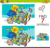 Differenze del ritrovamento con i caratteri dell'animale del pesce Fotografia Stock Libera da Diritti