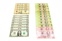 Differnce of currency. Between Dollar(US) and Dong(vietnam Stock Images