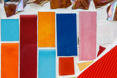 Colorful wall. Differnt size and shape of tile as background Stock Images