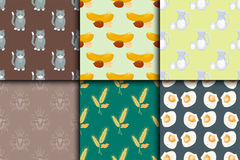 Differrent seamless pattern set with cats food nuts milk oysters bugs spikelets vector illustration. Beautiful colorful fashion background Royalty Free Stock Photos