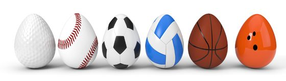 Diffferent sport balls as easter egg. easter concept with sport theme. 3d illustration. Isolated on white Royalty Free Stock Images