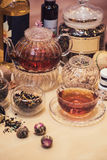 Diffferent tea set Stock Photos