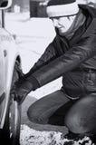 Difficoltà dell'automobile in inverno Immagine Stock Libera da Diritti