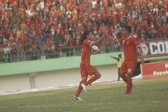 DIFFICOLTÀ INDONESIANE DI CALCIO Fotografie Stock Libere da Diritti