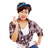 Difficult asian teenage daughter Royalty Free Stock Images
