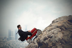 Difficult carrer with driving businessman stock photos