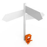 Difficult choice. Orange mannequin at the crossroads Stock Images